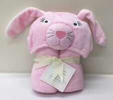 NEW Pottery Barn KIDS Winter BUNNY Critter Baby Hooded Bath Wrap Towel~PINK