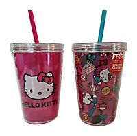 Hello Kitty Plastic Cups with Lids and Straws, 2 - 13 Ounce Tumblers