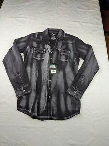 Wrangler Rock 47 Pearl Snap Flip Cuff Black Long Sleeve Men's Small Shirt