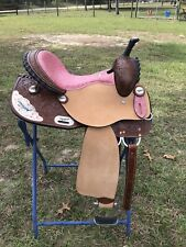 "14"" Western Saddle Bridle & BC w Pink Filagree Seat & Cow Girl Up Silver FQHB"