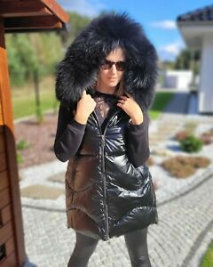 Women's black Quilted Winter Vest with Raccoon Fur Hood Trim Puffer Coat