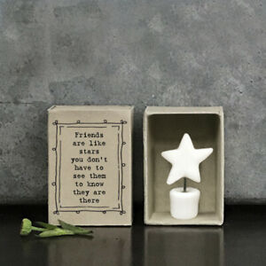 East of India White Porcelain STAR in Vintage Matchbox FRIENDS LIKE STARS