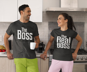 The Boss The Real Boss /Funny Tshirt set for Couples / Valentines day gifts