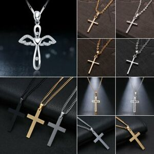 2021 Fashion Stainless Steel Cross Pendant Necklace Chain Women Men Jewelry Gift