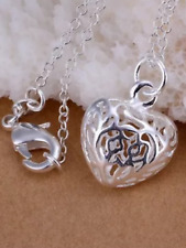 silver 925 heart pendant with 44cm necklace jewellery gift present Christmas