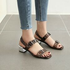 Women's Slingbacks Sandals Block Low Heels Open Toe Patent Leather Casual Shoes