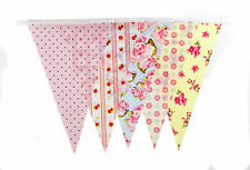 35 Flags 10m Bunting Shabby Chic Home Floral Pink Polka 1St Clas Post C1356