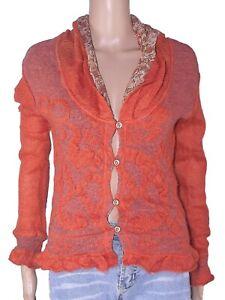 sathia maglione maglioncino cardigan donna arancione mohair italy m medium
