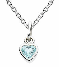 "Dew Childrens Jewellery Silver Birthstone Necklace 14"" Chain - March Blue Topaz"