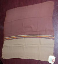 "NWT Vintage Old stock Russian Silk Scarf Brown Earthtones Stripe 27"" Square"