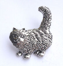 STANDING CAT - Kitten -  Hand Made in UK Pewter Lapel Pin Badge