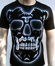 BIKER RIDER CHOPPER d'GHOST SKULL Tattoo T-Shirt g L-XL