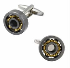 Gift Bag+ Working Bearings Cufflinks Moving Parts Gold Tone Ball Cuff Links GLD