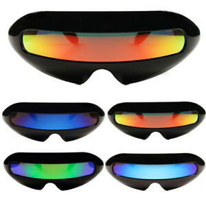 Futuristic Cyclops Neon Shield Color Mirror Lens Wrap Sunglasses Funny Shades