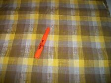 """Vintage Yellow & Brown Plaid Woven, Nubby Texture, 44"""" x 2 3/4""""; New; (946)"""