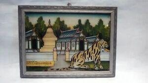 Thailand vintage reverse glass eglomise zodiac painting