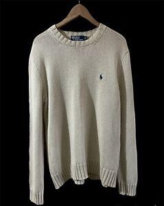 RALPH LAUREN Mens Crew Neck SIZE M CREAM Sweater Jumper Pullover 100% Cotton