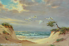 Paul Schlünsen Painting Flying Swans & Ocean Landscape Listed German Artist