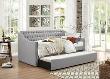 Homelegance Torrence Sleigh Tufted Daybed with Roll-out Trundle in Grey