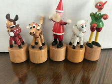 Vintage Wooden ChristmasPush Puppets Made In Italy Set of 5 with Santa, elf...