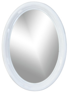 Oval Mirror With White Frame Circular Wall Mirror Framed Oval Home Decor 36cm