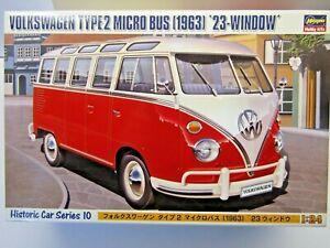 "Hasegawa 1:24 Scale Volkswagen Type 2 Micro Bus 1963 ""23 Window"" Model Kit 21210"