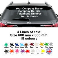 Personalised Business Rear Window Car & Van - Decal Vinyl Signs Stickers Custom