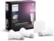 Philips Hue E27 White and Colour Ambiance Starter Kit: Bulb 3x Pack & Hue Bridge