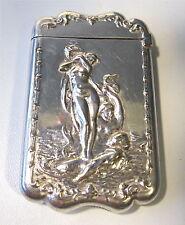 Antique Victorian Art Nouveau Silver NUDE Venus Mermen Mermaid Match Safe Vesta