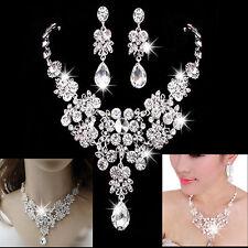 Kit Femme Boucle Oreille Collier Pendentif Diamant Elégant Mariage Cadeau Parure