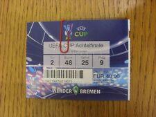 13/03/2008 Ticket: Werder Bremen v Rangers [UEFA Cup] Ticket Specific To Game Bu