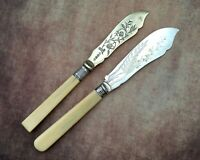 ANTIQUE BUTTER KNIVES x2 - LEAFY ENGRAVED SILVER PLATE CUTLERY - WW&R SHEFFIELD
