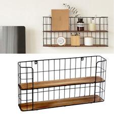 2 Tier Metal Wire Wood Floating Shelves Wall Shelf Kitchen Storage Display Rack