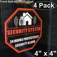 4 Home Business Security Burglar Alarm System Warning Clear Vinyl Sticker Decal