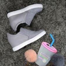 Ladies Grey Trainer Sneaker Diamante Casual Wedge Mid Heel Slip On Size 7