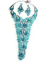 Necklace Rhinestone Crystal Earrings Large Breastshield Bib Drag 9.5 Inch Drop
