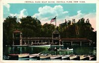 Vintage Postcard - Central Park Boat House New York NY White Boarder #2883