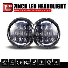"Ring for 99-18 Jeep Wrangler Jk Tj& Turbo Sii 7"" Round Led Headlights Angel Halo"