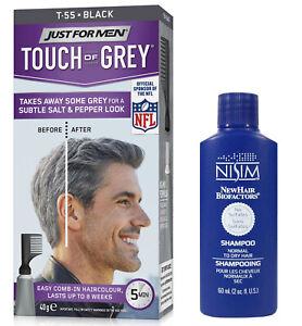 Just For Men Touch of Grey Black Gray T55 Mens Hair Colour Dye + Nisim Shampoo