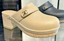NIB CHANEL beige calfskin clogs with turnlock CC