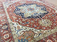"""Persian Oriental Area Rug Serapi Hand Knotted Wool Rust Navy Blue 8'.0"""" X 10'.0"""""""