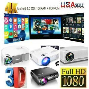 Full HD 1080P Native Portable Mini Wireless Bluetooth WiFi Home Projector GIFT