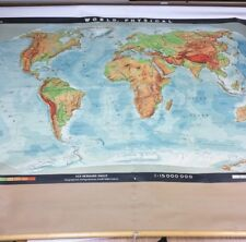 Vintage Denoyer-Geppert Haack-Gotha World Physical Pull Down History Map (6158S)