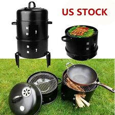 3 in 1 Black BBQ Charcoal Grill Barbecue Smoker Garden Outdoor Cooking Steel Pot