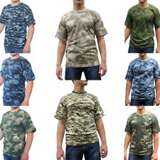 Russian T Shirt Short Sleeve Summer Military Camouflage Camo Army Combat New
