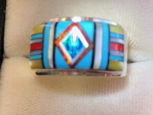 Handsome Warriors Face Paint Turquoise Opal ring 12 Sterling 925 Red Diamond Y