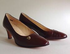 RAYNE 'Cora' Chestnut Brown Leather Vintage 1980s Court Shoes UK 3 EU 36 US 5.5