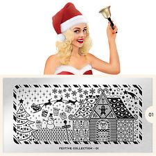 Moyou London Stamping Schablonen Plate Schnee Weihnachten Schneemann Festive 01
