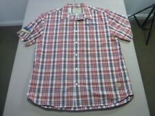 088 MENS NWOT NAUTICA WHITE / RED / NAVY CHECK S/S SHIRT SZE XL $110 RRP.