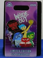 Disney INSIDE OUT 5th ANNIVERSARY Joy Sadness Fear Anger LE 3000 Trading Pin